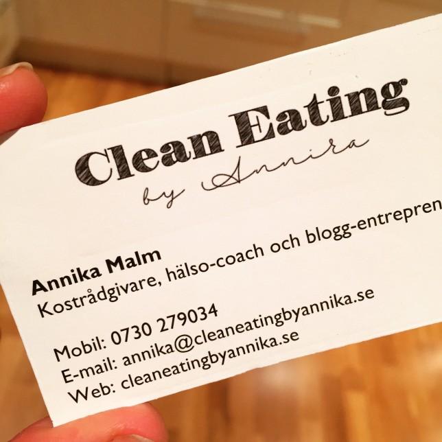 clean eating visitkort