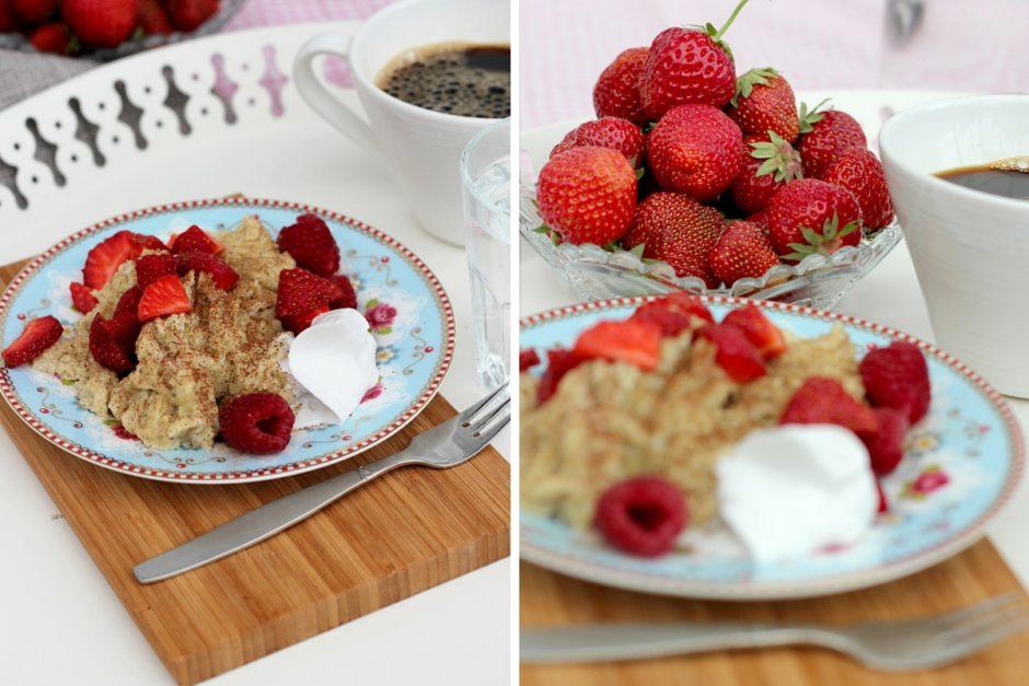 scrambled pancakes med jordgubbar