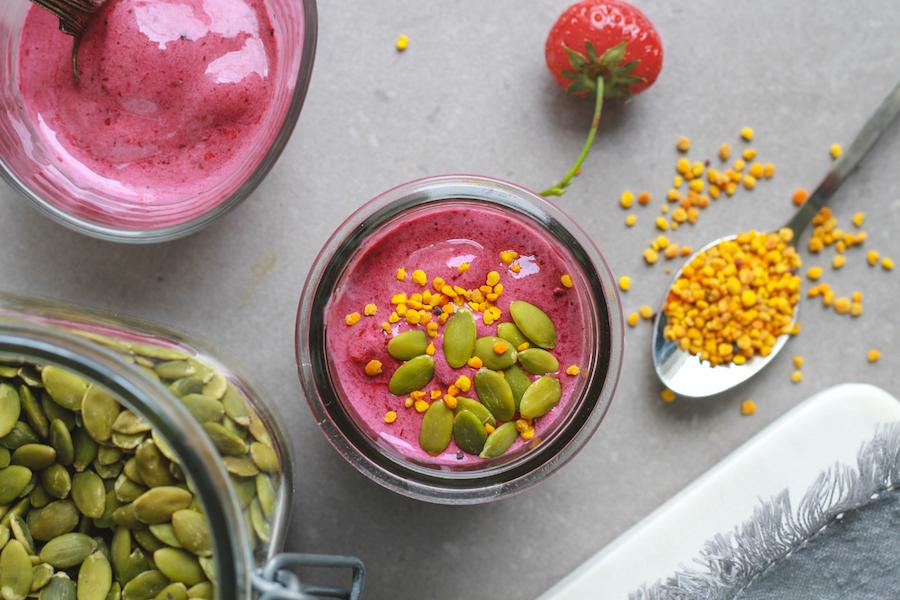 rosa smoothie jordgubbar